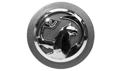 Chrome-plated logo assembled on embossed base
