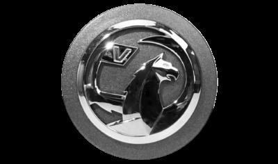 Logo cromato assemblato su base goffrata