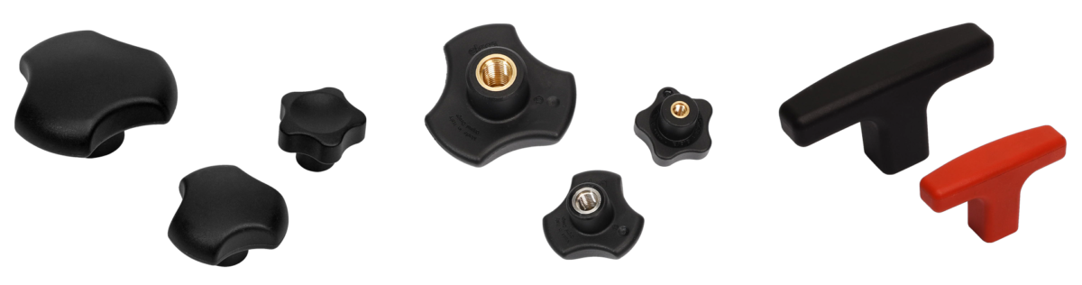 Knobs with co-moulded metallic inserts